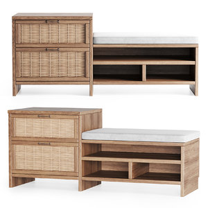 3D wooden couch rattan model