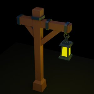 cartoon street lamp post 3D model