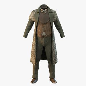 3D vintage clothing male suit model