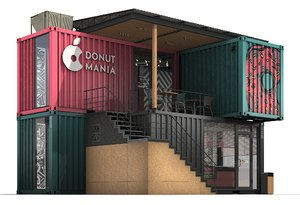 3D container donuts restaurant model