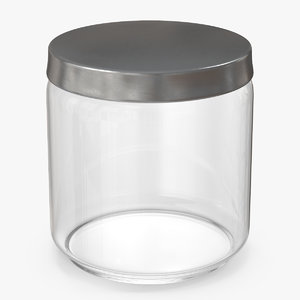 3D glass jar metal lid model