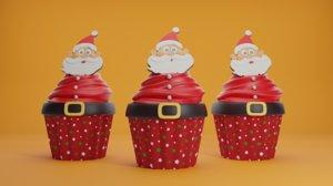 3D model christmas cupcake
