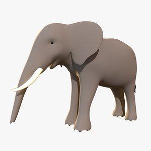 stylized elephant 3D model