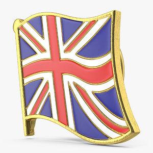 3D uk great britain flag