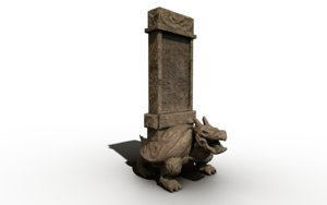 3D temple stone dragonturtle