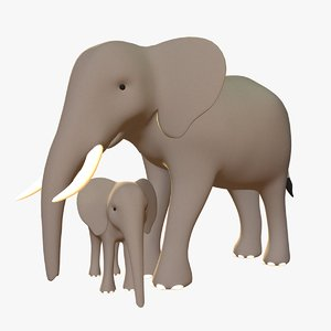 stylized elephants pack 3D model