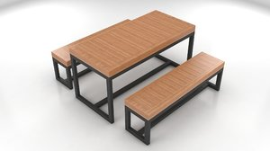 3D dining table camellia picnic model