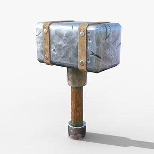 stone hand hammer 3D