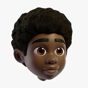 cartoon boys head character 3D model