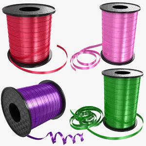 3D ribbon rolls set model
