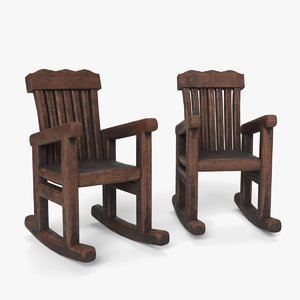 3D old rocking chairs model