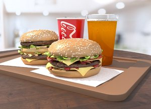 3D burgers cola beer fastfood