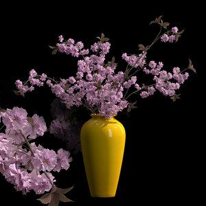 vase japanese cherry flowers 3D