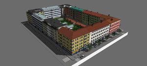 3D model block buildings architecture city street