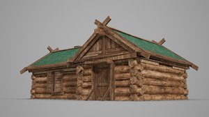 3D ancient wooden dwelling model