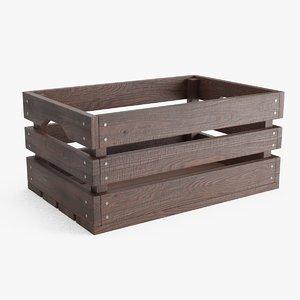 3D model wooden crate brown