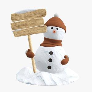 3D snowman snow signboard model