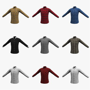 3D long sleeve shirt cloth model