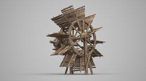 3D model ancient waterwheel power