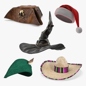 costume hats 3 3D