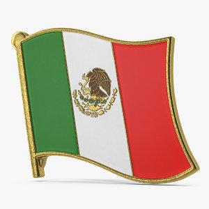 3D mexican flag lapel pin