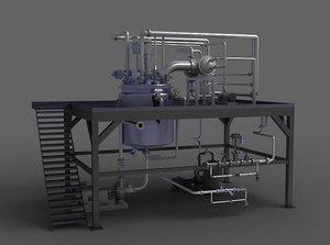 3D model hot water pump valve