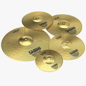 3D sabian sbr brass cymbal model