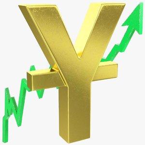 3D graph yuan symbol rising