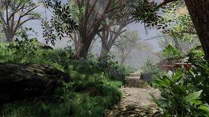 forest path scene 3D model