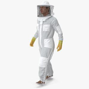 male beekeeper suit walking 3D model