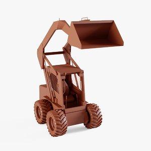 compact tractor loader backhoe 3D model