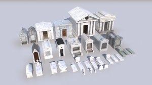 3D pack cemetery mausoleums 1 model