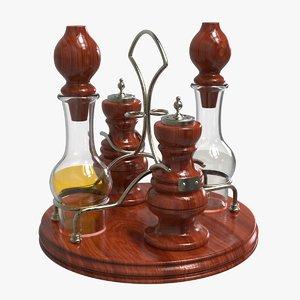 3D model vintage spices set