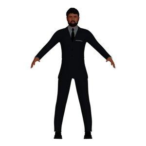 3D business man beard character