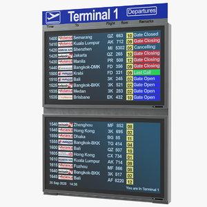 flight board information display 3D model