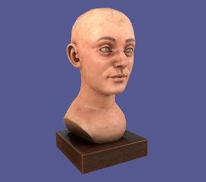 antique helmet wooden mannequin 3D model