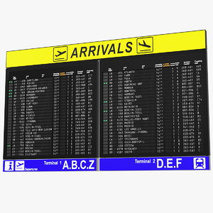 3D airport arrivals board air model