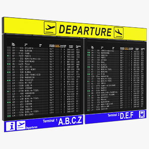 airport departures board air 3D