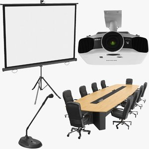 real conference table projector screen 3D model