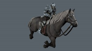 3D medieval russian knight horse model