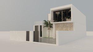 3D modern exterior scene home