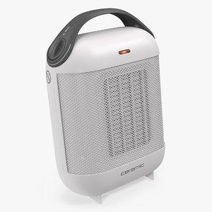portable ceramic heater white 3D model