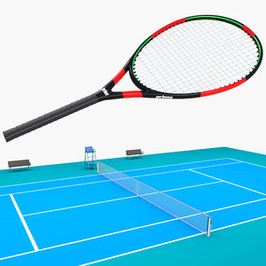 3D tennis court racket model
