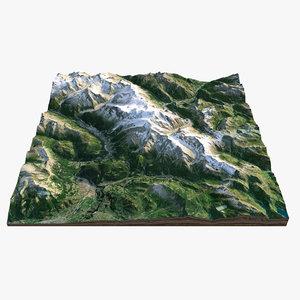 3D mont blanc model