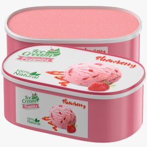 3D strawberry ice cream box