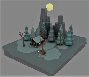 snow cabin isometric 3D