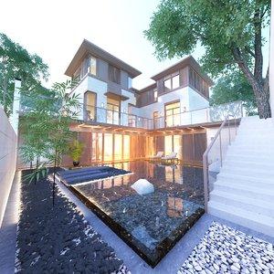 cottage villa concept interior 3D model
