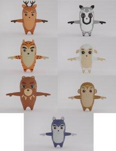 3D model cartoon animal pack