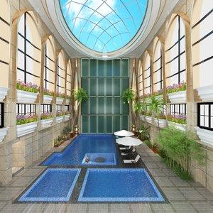 indoor pool patio tropical 3D model