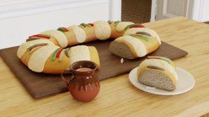 3D model rosca reyes sweet bread